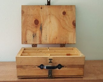 Vintage Homemade Tackle Box~Fishing Tackle Box~1950s Plywood double sided Tackle Box