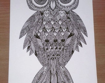 Owl henna style A4 fine art print