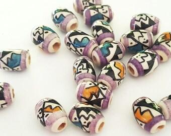 Hand Painted Tribal Peruvian Ceramic beads (10c)