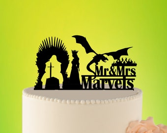 GAME OF THRONS Cake Topper, Targarian Wedding Decor, Iron Thron cake Topper, Dragon Cake Topper, Couple Name L2-01-009