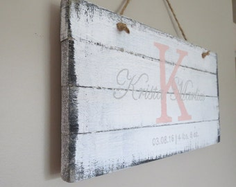 Rustic Wood Sign, Baby Girl Gift, Baby Name Sign, Personalized Name Sign, Baby Shower Gift, Baby Gift, Shabby Chic, White