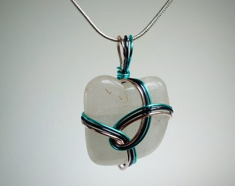 Polished Stone Multi Color Teal, Rose Gold, Steel Blue Wire Wrapped Pendant Necklace, Nature Inspired Gift, Valentine's Day, One of a Kind,