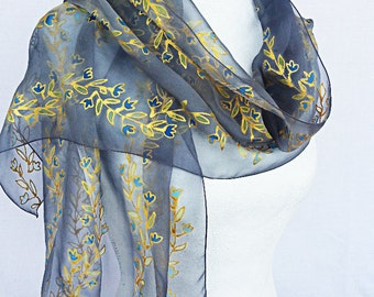Silk scarf  hand painted  black Silk Scarf   Handpainted silk scarf  gold silk scarf   silk  silkscarvesparis