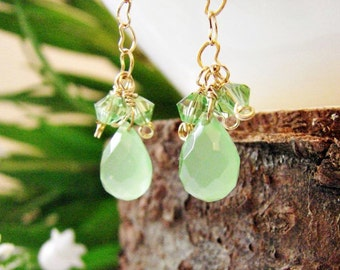 Light Green Jade Tear Drop, Swarovski Crystal and Heart Shape Chain Dangle & Drop Earrings Goldfield 14K Gift for Her, Delicate