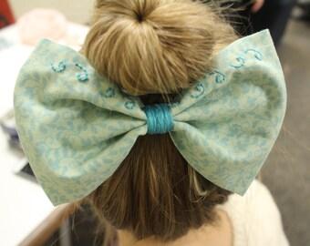 Blue/Green Leaf Swirl Hair Bow