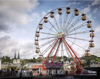 Ferris Wheel, Carnival Photography Switzerland, kids room decor, photography wall art home decor
