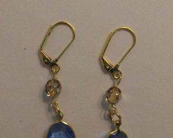 Light Sapphire Blue Crystal Drop Gold Earrings
