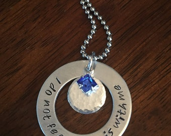 """hand stamped """"I do not fear - He is with me"""" necklace, birthstone necklace, personalized Swarovski crystal necklace, Christian necklace"""