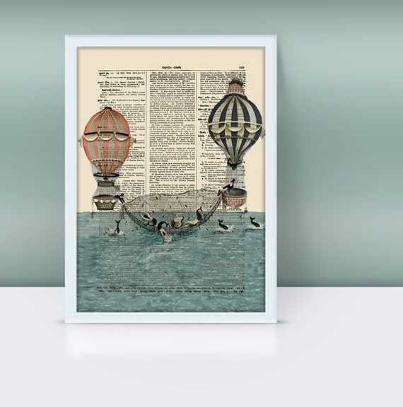 Hot Air Balloons Being Used To  Fish For Mermaids On  An Antique Dictionary Page, Mixed Media Art, Dorm Decor,