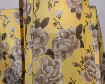 Chiffon Silk, floral chiffon fabric by the yard, Yellow floral Chiffon, Digital Print, Top quality chiffon silk