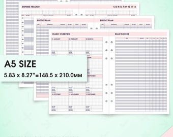 Budget & finance a5 inserts printable planner (finance inserts, a5 budget inserts, bill tracker, savings tracker, expense tracker, debt)
