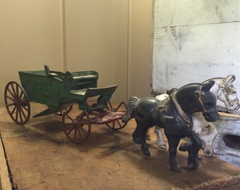 Cast Iron Toy horse drawn sand and gravel wagon/Cast Iron Horse/Cast Iron/Cast Iron Door Stop/Vintage Cast Iron/Vintage Horses/Old Horses/