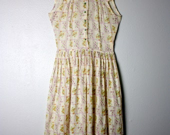 SALE Vintage 1940s/50s Cotton Floral Sleeveless Summer Day Dress