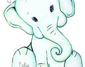Baby Elephant Watercolor- Digital File