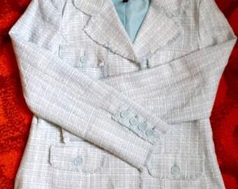 Vintage Light Blue Plaid Blazer, Vintage Plaid Blazer, Light Blue Blazer, Baby Blue Blazer, Vintage Women's Blazer, Plaid Blazer, Blazer
