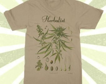 Herbalist - Weed Shirt - Botanical Cannabis tshirt - 420 - Pot Plant - Herbalist Shirt - Plant - Cannabis shirt - cool t-shirt