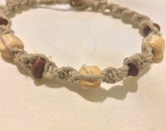 Wooden beaded anklet