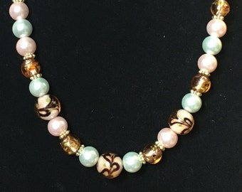 Multi-Colored Glass & Pearl Necklace with gold spacers