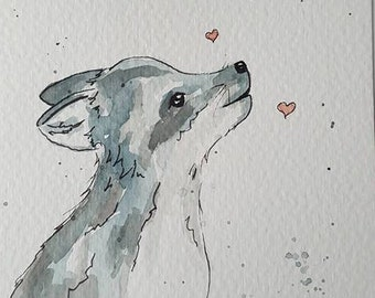 Howling Wolf, Cub, Post Card, Home Decor, Nursery, Love, Original Paiting