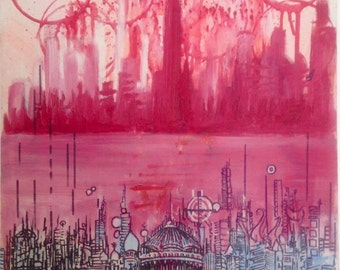 Red Mosque- Urban Abstract Painting with Sharpie