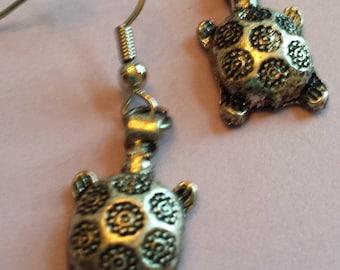 Silver Turtle Earrings
