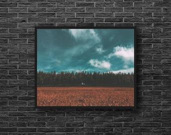 Fields Photography - Stormy Sky Photo - Country Landscape Photo - Rural - Nature Photography - Nature Wall Decor - Landscape Wall Decor
