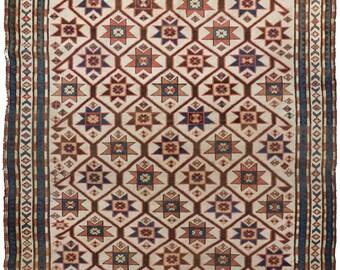 "Rug #537 - Antique Caucasian Karabagh Rug. 4'x 5'8"""