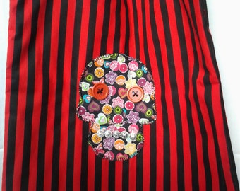 Tote bag, Sugar Skull applique motif.