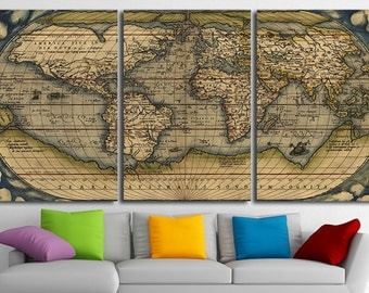 Old World Map Wall Art Multi Panel Set Vintage Large World Map Canvas Print Wall Art World Map Wall Decor World Map Print World Map Poster