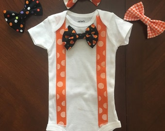 Halloween snap on bow tie onesie or shirt