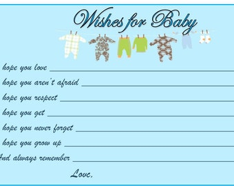 Printable Wishes for Baby Cards