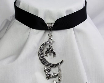 Gothic moon and bats ribbon choker necklace (Code RCST008)
