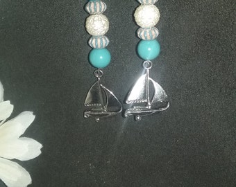 Sails Away turquoise, sail boat, dangly earrings