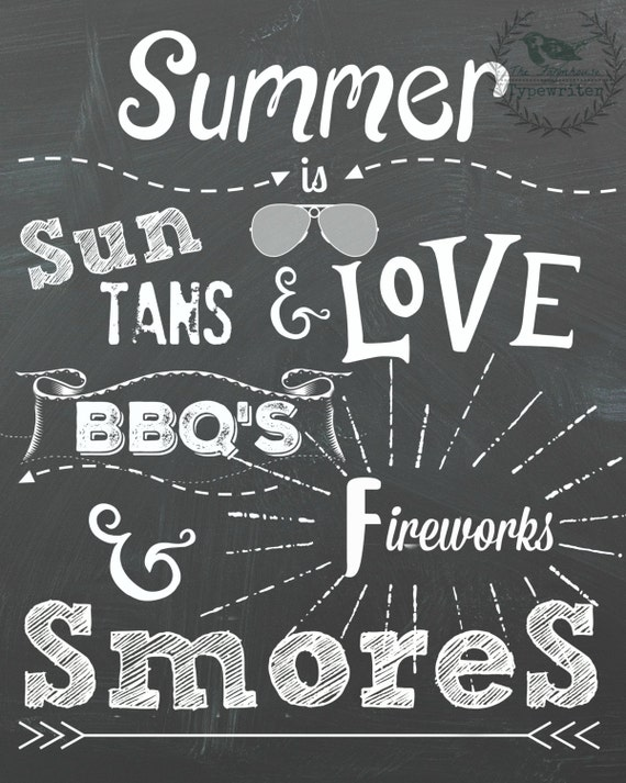 Summer 8 X 10 and 18 X 24 Instant Chalkboard Download Art