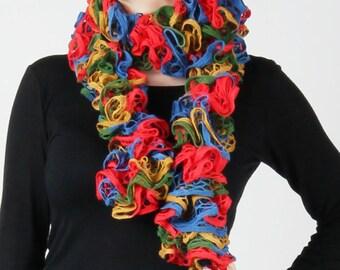Bright Multi Colour Ripple Knit Scarf