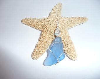 Brillant blue sea glass pendant with swarvoski  crystal.