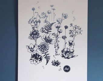 Screen printed floral 29.7 x 42 (A3) Limited Edition and numbered