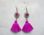 Round Hmong Embroidery Purple Tassel Earrings