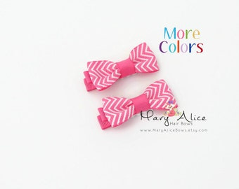 """Small Chevron Hair Bow Set- 1.75"""" Girls Hair Bow, Toddler Hair Bow, No Slip Alligator Clip for Baby Girl- Made to Order"""