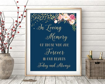In loving memory sign, remembrance sign, In loving memory wedding sign, Memory table sign, Wedding memory table, Wedding memorial table