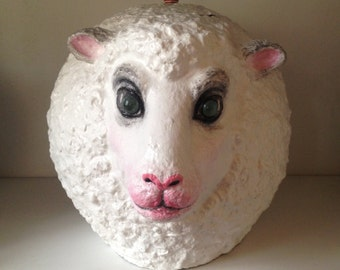 Paper mache - box design sheep craft isdamour