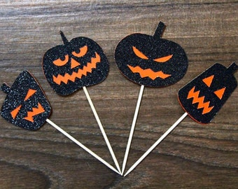 Jack O' Lantern Cupcake Toppers - Sparkly Black and Orange