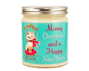Christmas Kitty Candle, Personalized Candle, Scented Candle, Vintage Candle,, Soy Candle, Holiday Candle, Cat Candle
