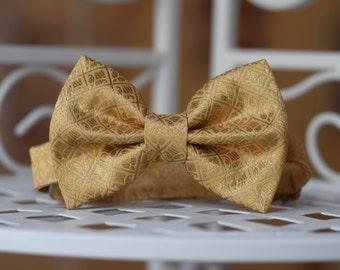 Silk Bow tie Boys bow tie Birthday bow tie Wedding bow tie Baby boy bow tie Golden bow tie Baptism Page boy bow tie Ring bearer bow tie