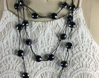 Handmade necklace - handpicked glass beads with black cord.  Can be worn a variety of ways!  Free Shipping!