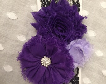 Midnight Bliss- black lace headband with lavender and purple