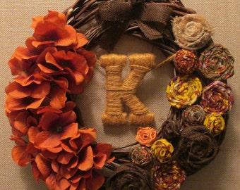 Fall Grapevine Monogram Wreath