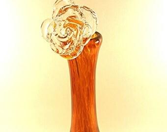 Glass rose flower clear handmade art decor Valentin's Day //gift//art//home//interior//design//for her