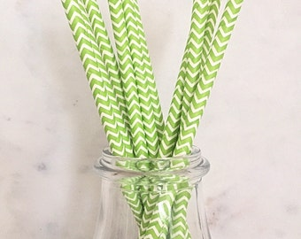 Lime Green and White Chevron Paper Straws (25)