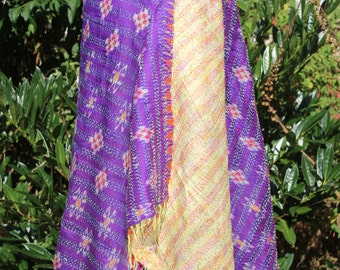 Purple and yellow shawl, big and soft stole, reversible scarf